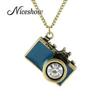 Wholesale Long Pendant Necklaces Camera - Wholesale-Niceshow Vintage Jewelry maxi necklace Anitque Gold Long Chain Colorful Enamel Camera Pendant Necklace Top Selling collier femme