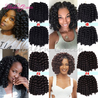 Wholesale African Curl - Cheap Freetress Jamaican Bounce Crochet Hair For Black Women Havana Mambo Twist Crochet braids Hair 8'' African Wand Curl Ombre Crochet Hair