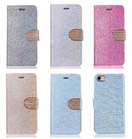 Luxo Bling Glitter pedra carteira de couro para Iphone 7 / Plus / 6 6S / Galaxy S8 / S7 / Edge Stand diamante metálico Chromed Gold Sparkle Flip Case