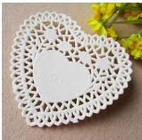 Wholesale Heart Shape Paper Lace Doily - Wholesale- 250pcs lot 4'' Heart Shape Paper Lace Doilies Placemat Craft Doyleys Wedding Christmas Tableware Decoration PD18