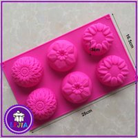 Wholesale Chocolate Different Shape - six different flowers type shape 6 holes Silicone Mold Cake Decoration tools Food Grade cake soap chocolate Moulds baking bakeware