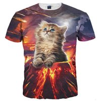 Wholesale Volcano Digital - 3D T shirts New Stylish Men women 3d T-shirt Digital Print Lovely Volcano Cat Quick Dry 3d Tshirts Summer Tops Tees