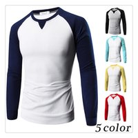 Wholesale Hit Bottom - T-shirts for Men Spring&autumn Bottoming Hit Color Raglan Sleeves Men's Casual Long Sleeves O-neck Sports T-shirts US Size:XS-L