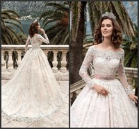 Discount wedding dress crystal sash blush - 2018 Blush Pink Modern A Line Wedding Dresses Off Shoulder Long Sleeves Lace Appliques Crystal Sashes Button Back Court Train Bridal Gowns