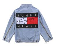 Wholesale Slim Mens Biker Jacket - Hip Hop 424 Kanye West Denim Jackets Men's hooded Denim Jacket high quality fashion Biker Jeans Jackets Slim fit casual sportwear Mens coat