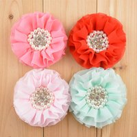 "Wholesale Beaded Hair Colors - New Stock Handmade 3"" Beaded Chiffon Flowers Pearl Rhinestone Ruffled Flower 16 colors Hair Accessories Free Shipping 30pcs FH24"