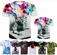Wholesale Blue Brains - Free Shipping Fashion Europe America 3D T Shirt Printed Brain Storming Trees Printing Rock 3D Tops T-shirt For Men