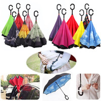 Wholesale Fold Movie - Windproof Reverse Folding Double Layer Creative Inverted Umbrellas Double Layer With C Handle Inside Out Reverse Windproof Umbrella 30colors