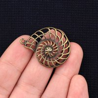 Wholesale Bronze Snail - Wholesale- 36*28mm 9pcs lot 2015 New Fashion Antique Bronze Plated Handmade Charms Necklace Pendant Snails