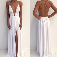 Wholesale Sexy Open Back Maxi Dresses - Maxi Evening Dresses Sexy Evening Dress Spaghetti Straps Deep Neck Sleeveless Criss Cross Open Back Ruched Chiffon Floor Length Prom Gown