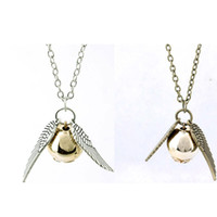 Wholesale Harry Wings Necklace - Vintage Harry Potter Necklaces Golden Snitch Pendant Angel Wing Charm Snitch Pendent Necklace For Men women