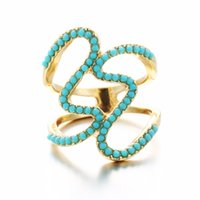Wholesale Turquoise Stone Ring Free Shipping - Fashion exaggerated geometric small jewelry creative wild retro women 's rings Bohemia Pine stone bead ring wholesale free shipping