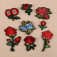 Wholesale Rose flowers iron on patches plant fabric logo Applique badge clothing accessori DIY applique biker vest embroidered