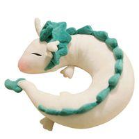 anime peluche regalo al por mayor-Al por mayor-Anime Ghibli Miyazaki Hayao peluche Spirited lejos Haku 28cm linda muñeca rellena de peluche de juguete almohada cuello en forma de U Regalos de Navidad