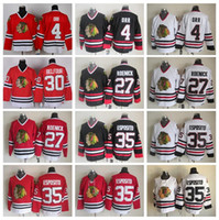 Wholesale Black Tony - Chicago Blackhawks Throwback 4 Bobby Orr Jersey Men Hockey 35 Tony Esposito 27 Jeremy Roenick 30 Ed Belfour Vintage CCM Black White Red