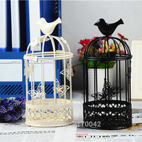 Wholesale Bird Cage Wedding Candle - Vintage European Iron Candlestick Bird Cage Wedding Ornament Candle Holders Candler