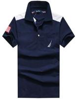 Wholesale Mens Tennis Clothing - nautica Mens Tennis Polo Shirt Brands Casual Polo Shirts American Brand Clothing Short Sleeve Golf Polos Summer Spring