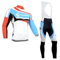 Wholesale Cream White Suits Men - 2017 pro team CUBE cycling jersey long Sleeves MTB bike maillot ropa Ciclismo men quick dry Bicycle clothing suits C0402