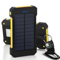 double banque d'énergie solaire achat en gros de-Banque d'alimentation solaire double banque d'alimentation USB 20000mAh batterie externe chargeur portable Bateria Externa Pack pour iPhone Samsung téléphone portable