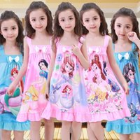 Wholesale Girls Nightgowns - 2017 new summer girls Sleep dress Elsa Anna Mermaid Snow White princess Cartoon kids pajamas nightgowns baby Bow sleepwear 10 colors C2232