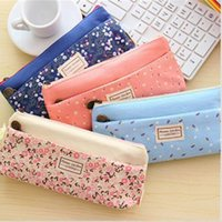 Wholesale Double Zipper Pencil Case - Small floral pattern multilayer fashion double zipper pencil case stationery bags Pouch Makeup Kit Free shipping a556