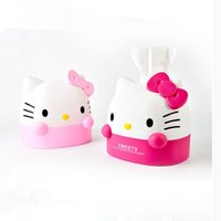 Wholesale Toilet Paper Roll Boxes - Wholesale- Cute Box Hello Kitty Tissue Box Tissue Canister Toilet Paper Holder Home Decoration Accessories