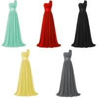 Wholesale Cheap One Shoulder Dress Nude - Chiffon One-Shoulder Long Evening Dress Short Sleeves Prom Dresses Long Evening Dress Special Occasion Plus Size Formal Cheap Party Gowns