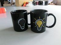Wholesale Heating Bulbs - 36pcs lot Thermal Light Bulb Mug Mukhamadeyev The Heat Change Color Changing Ceramic Mug 330ml Free Shipping
