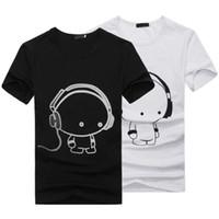 sevimli çiftler giysileri toptan satış-SıCAK 2018 Yeni Yaz Kadın Bayanlar Rahat Sevimli Karikatür Baskı Komik T Gömlek Yumuşak Pamuk Çift Giysileri Iyi Arkadaşları Tshirt Ucuz Z1