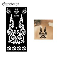 Wholesale Tattoo Pieces Arm - Wholesale-1 Piece Hollow Henna Tattoo Stencil Flower Lace Airbrush Painting Sexy Women Arm Body Art Henna Tattoo Stencil Originality S2116