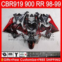 Wholesale Honda Cbr 919rr Fairing - Body For HONDA CBR 919RR CBR900RR CBR919RR 98 99 CBR 900RR TOP Red flames 68HM5 CBR919 RR CBR900 RR CBR 919 RR 1998 1999 Fairing kit 8Gifts