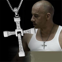Wholesale furious gold - Hot Sale THE FAST and The FURIOUS 7 Dominic Toretto's CROSS Chain Silver Pendant Necklaces Jewelry Necklaces Charm Christian cross Jewe