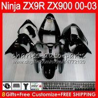 Wholesale Kawasaki Ninja Zx9r Kits - 8Gifts 23Colors For KAWASAKI NINJA ZX 9 R ZX9R 00 01 02 03 900CC 40HM1 ZX 9R ZX900 ZX900C ZX-9R 2000 2001 2002 2003 Fairing kit Glossy black