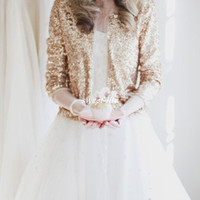 Wholesale Sequin Shrugs - Luxury Shiny Long Sleeve Rose Gold Sequined Bridal Jackets 2017 Shrug Formal High Quality Wedding Coats Boleros Wedding Accessories