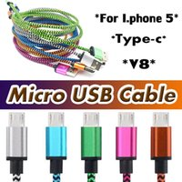 Wholesale Data Sync Cable 3m - 1M 2M 3M Micro USB Cable Colorful Braided V8 Data Sync 3FT 1M 2M 6FT 3M 10FT For Type C Cable Apple New Macbook 12 Inch Free Shipping DHL