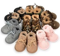 Wholesale baby leopard winter boots resale online - Retail Winter Thick Fur Baby Boots Leopard Styles Winter Warm Baby Sneaker Prewalker Warm baby footwear