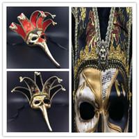 Wholesale Adult Cosplay Models - Wholesale- Hot Sale Cosplay Venetian mask long nose Halloween masquerade mask painted antique Venetian mask proboscis Wang adult male model