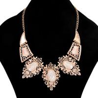 Wholesale Gold Bendable Necklace - Fashion Women Jewelry Gifts Gemstone Pendant Necklace 18K Gold Plated Bendable Necklace Lady Party Short Necklaces 5PCS
