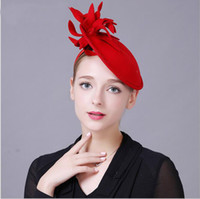 Wholesale Hat Formal Dresses - Ladies Red Black Exquisite Wool Woolen Retro Hats 2017 High Quality Headband Formal Party Vestido Dress Bridal Accessories