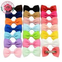Wholesale Colorful Bow Hair Clips - 2.75 Inch Colorful Barrettes Sweet Children Ribbon Bows Hairpin  Baby Girls Hair Clip  Kids Hair Accessories