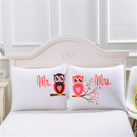 Wholesale Pillow Case Pair - Body Pillowcase Mr and Mrs Owls Romantic Pillow Case Soft Pillow Cover Valentine's Day Gift Home Textiles One Pair 0711056