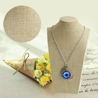 Wholesale linen necklace displays - 1pcs Linen Mannequin Bust Jewelry Necklace Pendant Neck Model Display Stand Holder