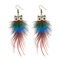 Wholesale Earing Pair - Womens Owl Peacock Feather Pierced Earrings Hot selling Fashion Owl Earing 24 pcs lot (12 pairs)