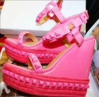 Wholesale Womens Shoes Platform Wedges - Cheap Womens Shoes Summer Rivet Studded Gladiator Sandalias Fashion Lady Open Toe Platform Wedge Sandals Gold Black Pink