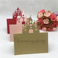 ingrosso carte banchetti-50pcs nuovo taglio laser castello damasco nome segnaposti carte da tavolo festa di nozze ristorante banchetto biglietti d'invito forniture