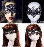 Wholesale Cat Eyes Masquerade Masks - 20pcs Halloween Sexy Masquerade Masks Black White Lace Masks Venetian Half Face Mask for Christmas Cosplay Party Night Club Ball Eye Masks