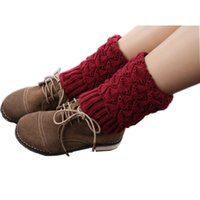Wholesale Calentadores Crochet - Wholesale- Calentadores 2016 Rushed New Solid Fashion Polainas Leg Warmers Women Crochet Knitted Trim Boot Cuffs Toppers Liner Warmer Socks