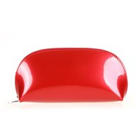 Wholesale clear zipper cosmetic bag resale online - Patent leather makeup make up bags zipper cosmetic bag small pouch