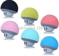 Wholesale Bluetooth Mushroom - BT280 lovely mini mushroom Mp3 Car speaker subwoofer Bluetooth wireless speaker silicone sucker phone tablet computer stand