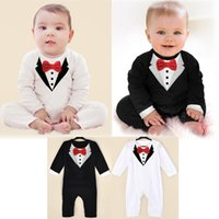 Wholesale High Neck Baby Bodysuit - infant boys jumpsuit bow tie gentleman rompers fashion baby boy formal wear high quality cotton bodysuit for newborn boys summer clothing